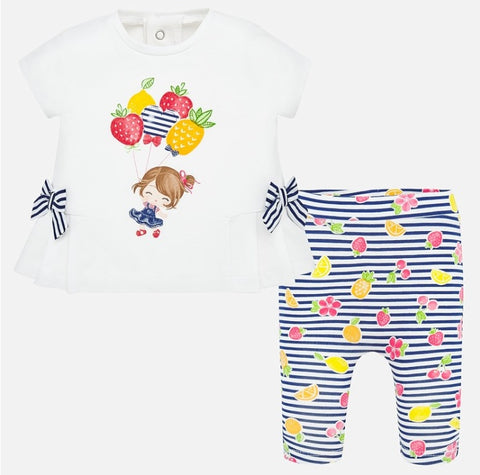 1786 Mayoral Baby Girls Play Wear 2 PC Set, Nautical Stripes & Summer Fruit Print