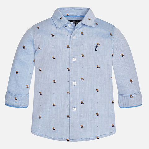 Mayoral 2143 Puppy Dog Print Chambray Button Up Dress Shirt