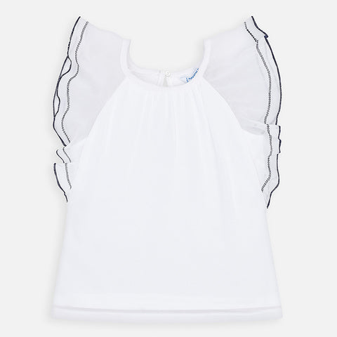 3014 Mayoral Soft Flutter Raglan Top, White w/Navy Trim