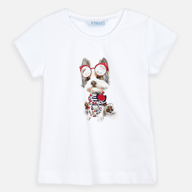 3017 Mayoral Girls Puppy Print Graphic T-Shirt, White