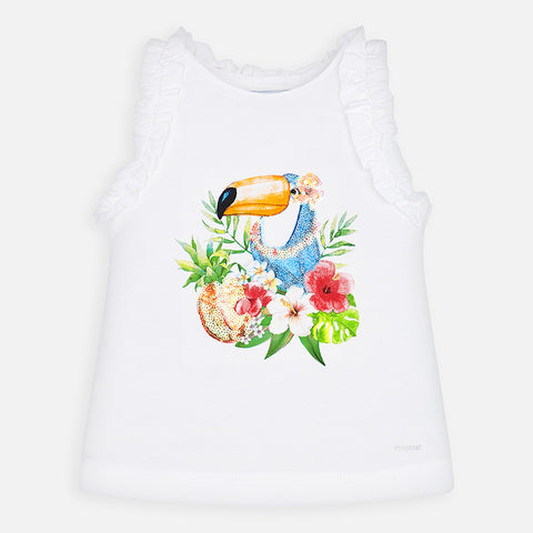 3025 Mayoral Girls Sequined Sleeveless Toucan Shirt