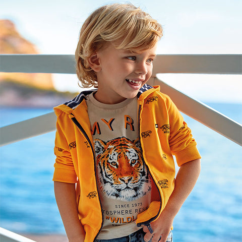 3052 Mayoral Boys Summer Graphic Short Sleeve T-Shirt, Tiger King
