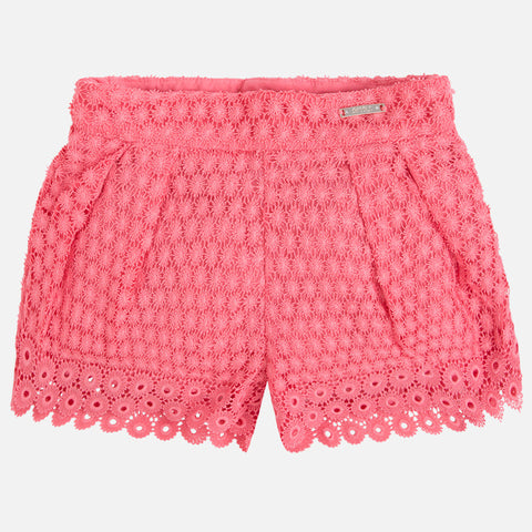 Coral Guipure Lace Shorts, Mayoral 3261
