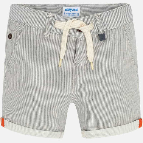 3263 Mayoral Boys Texture Striped Bermuda Shorts, Cream/Grey