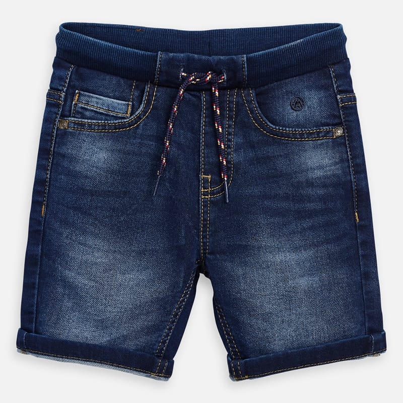 soft jogger top pull on denim shorts for boys, mayoral 3268