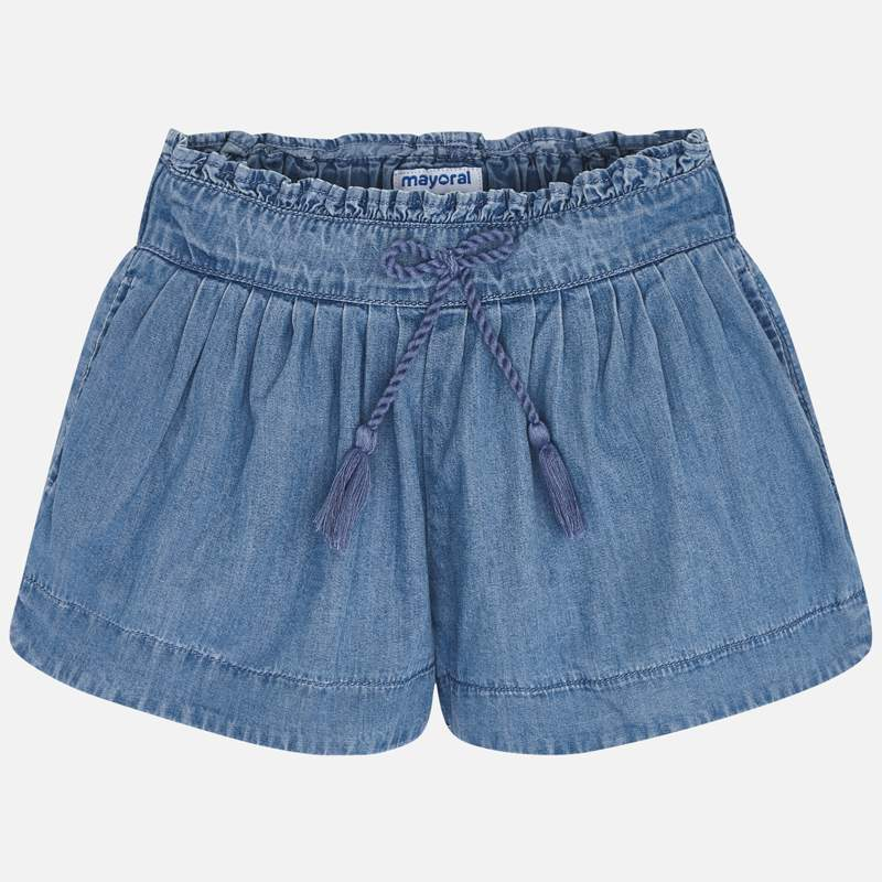 3282 Mayoral Girls Soft Gathered Denim Shorts
