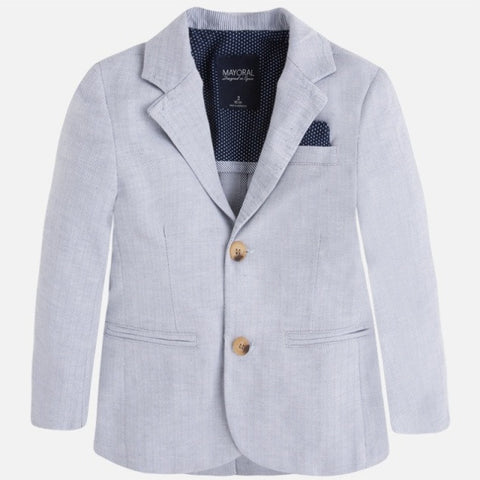 Mayoral 3417 Linen Grey, Herringbone Blazer