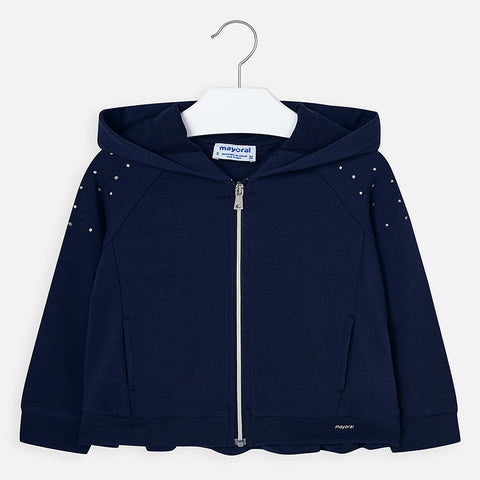3468 Mayoral Girls Pleated Crystal Zippered Hoodie Sweatshirt, Navy