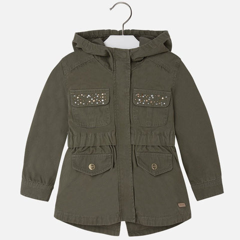 Mayoral 3471, Army Hooded Jacket, Riveted, Green w/Rivets