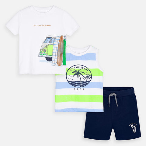 3622 Mayoral Boys Surf's Up 3 Piece T-Shirt & Shorts Set, Neon & Navy