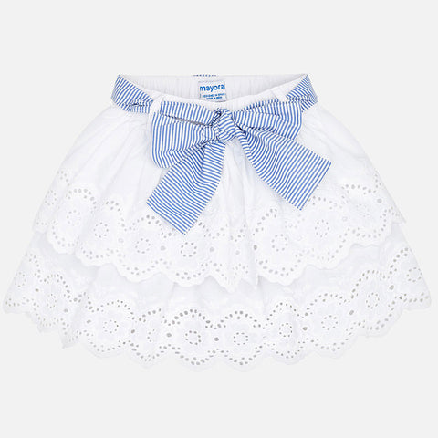 3905 Mayoral Girls White Eyelet Lace, Multi-Layered Summer Skirt w/Striped Bow Tie
