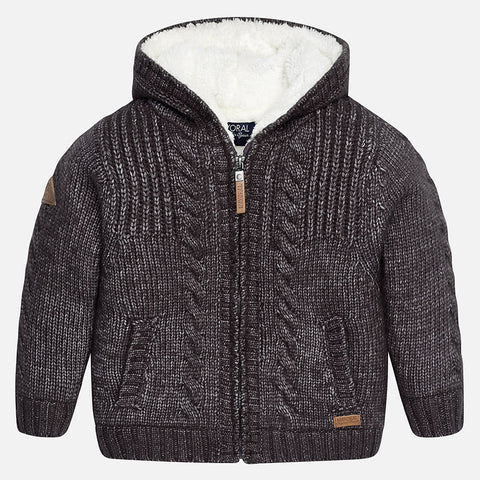 Mayoral 4343 Blackboard Sheerling Lined Knit Zipper Hoodie