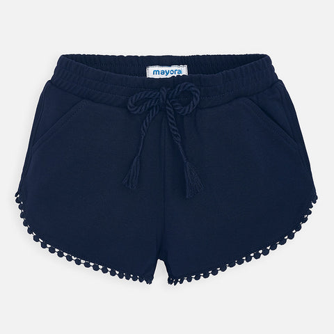 607 Mayoral Girls Soft Chenille Shorts, Pom Pom & Navy