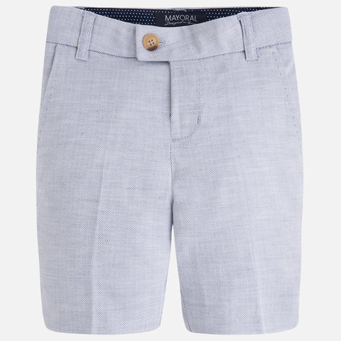 Mayoral 3205 Linen, Grey Herringbone Dress Shorts, Bermuda