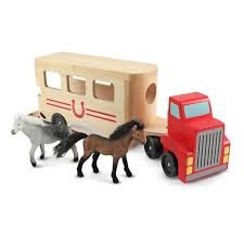 Eco-Wooden Toys - Horse Trailer Carrier & Horses