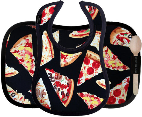 Bib & Placemat Set, Vegan Leather, Pizza