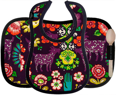 Placemat & Bib Set, Vegan Leather, Spanish Garden