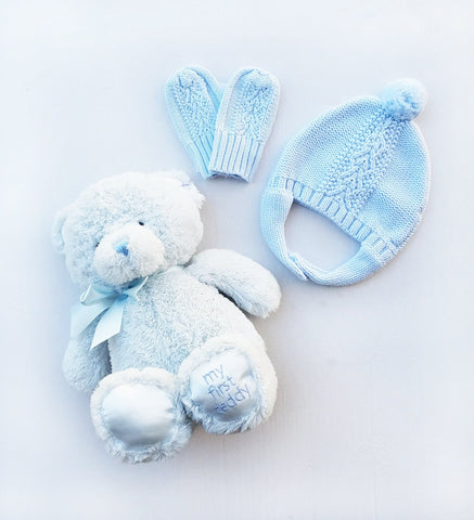 3 PC Gift Set, Cable Knit Pilot Hat, Mittens, & My 1st Teddy Bear, Baby Blue Set
