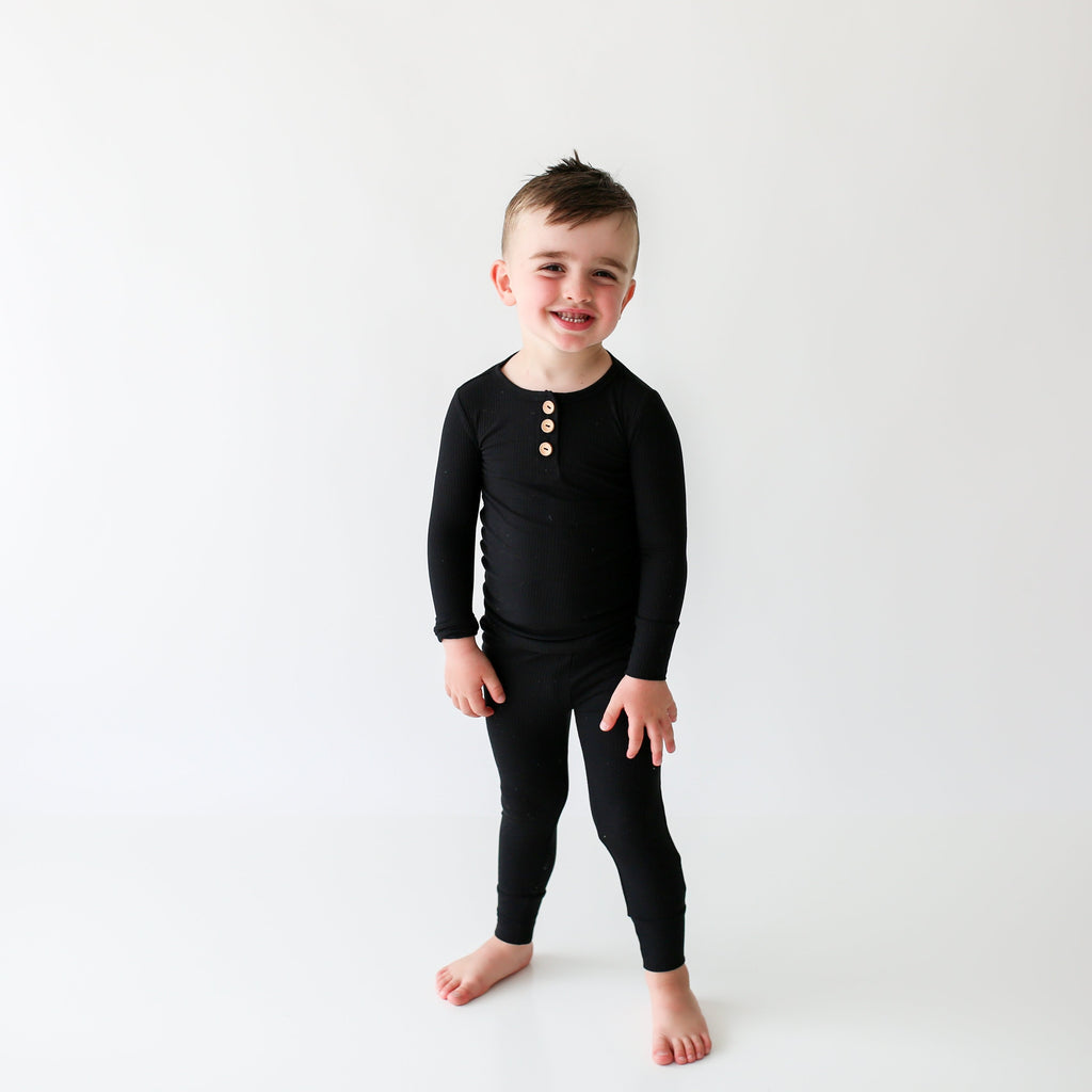 Posh Peanut 2 PC Pajamas Lounge wear, Classic Black Ribbed Henley