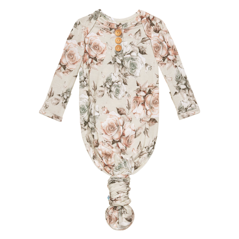 Posh Peanut Bamboo, Wood Button Knotted Sleep Gown - Daniella Floral