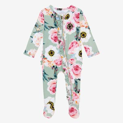 Posh Peanut Bamboo, Footie Ruffled Zippered One Piece - Jolie Teal pink roses peach white flowers