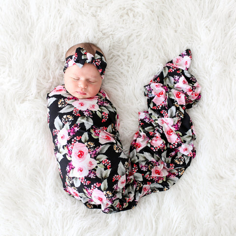 Posh Peanut Bamboo Lux Bow Headwrap Headband & Swaddle Set - Milana Floral