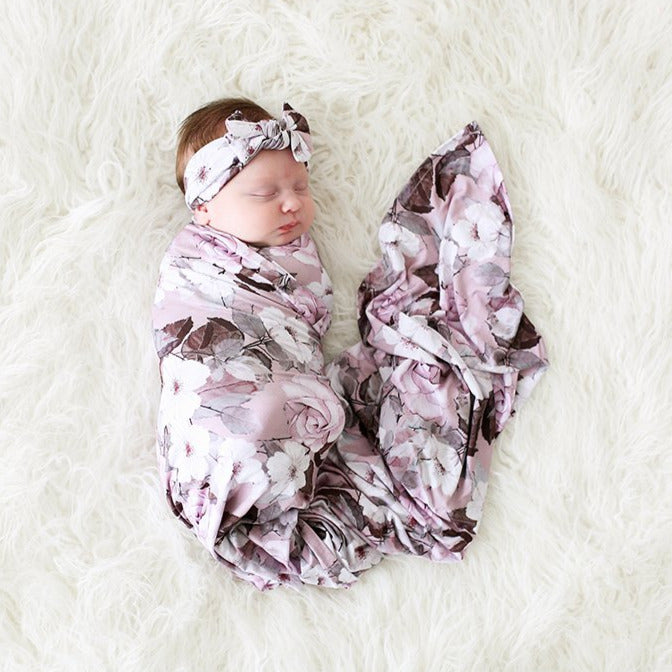 Posh Peanut Bamboo Lux Bow Headwrap Headband & Swaddle Set - Nikki Lavender Floral