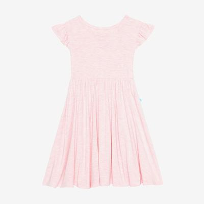 Posh Peanut Bamboo, Twirl Dress - Pink Heather light pink ruffled sleeves