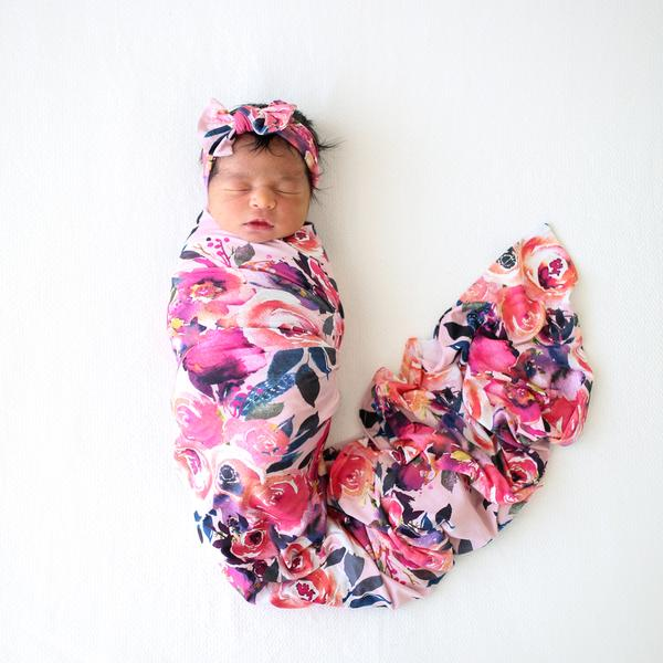 Posh Peanut Bamboo Eco Lux Swaddle & Headband Set, Dusk Rose