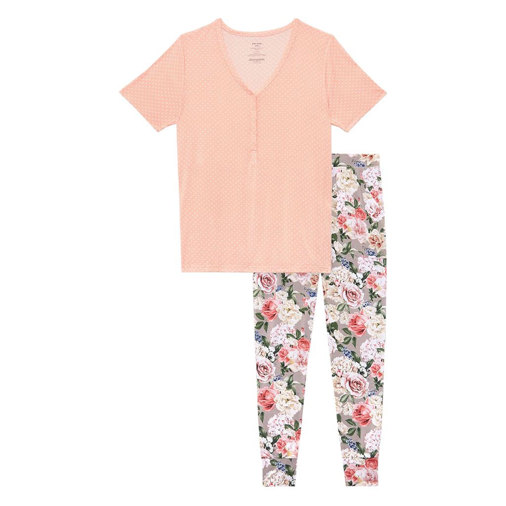 Posh Peanut Bamboo Women's 2PC S/S Lounge Pajama Set - Cassie Floral