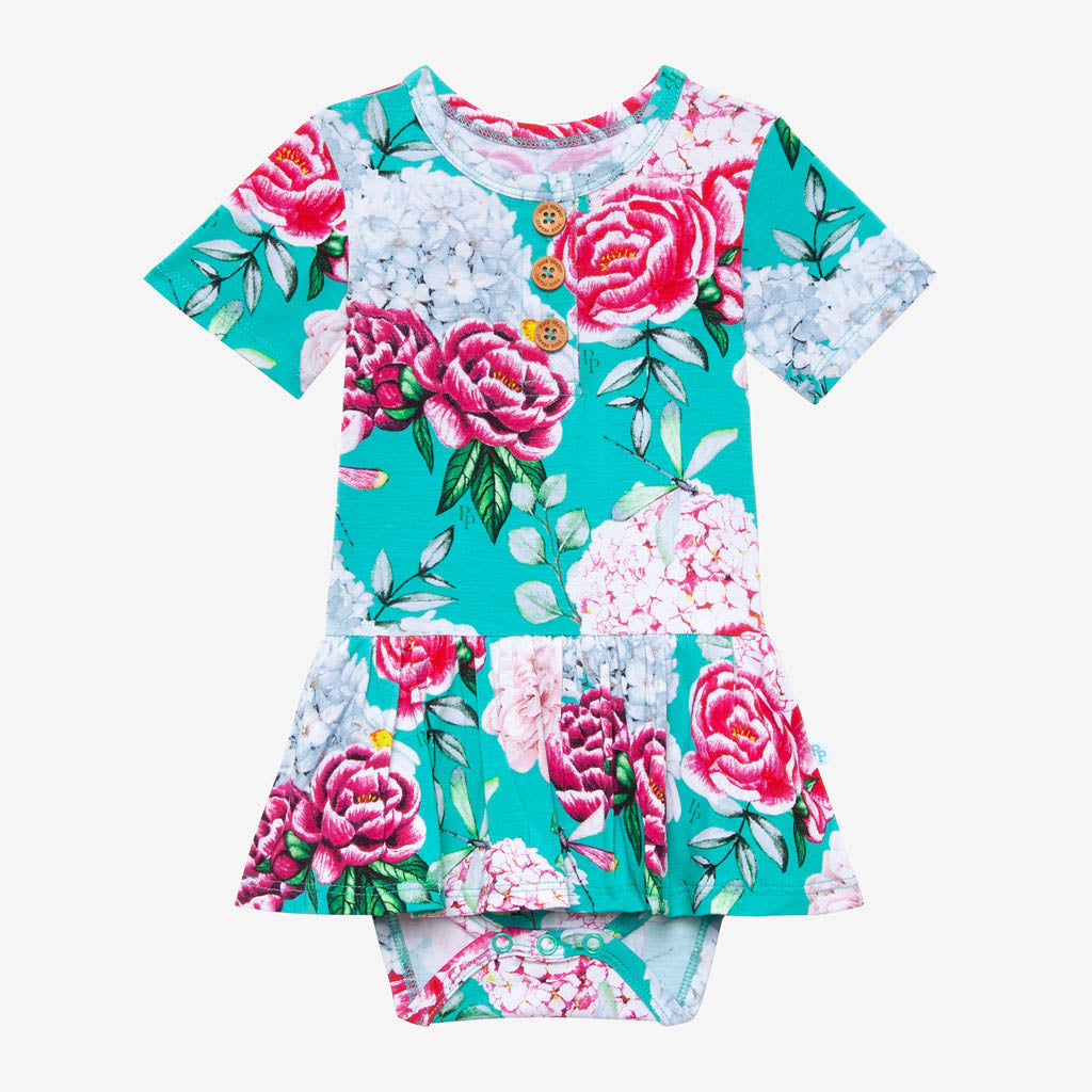 Posh Peanut Bamboo Henley Twirl Skirted Bodysuit, Eloise Floral/Dragonfly