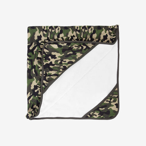 Posh Peanut Lux Hooded Bath Towel, Cadet Camo (TWO OPTIONS: Ruffled or Unisex)