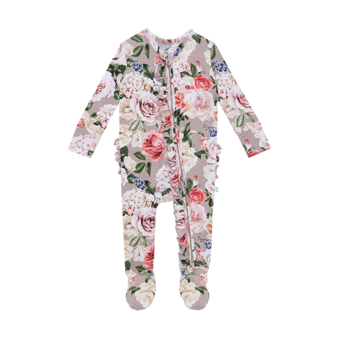 Posh Peanut Bamboo Ruffled Zippered Footie -  Cassie Floral