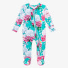 Posh Peanut Bamboo Ruffled Zippered Footie -  Eloise Floral/Dragonfly