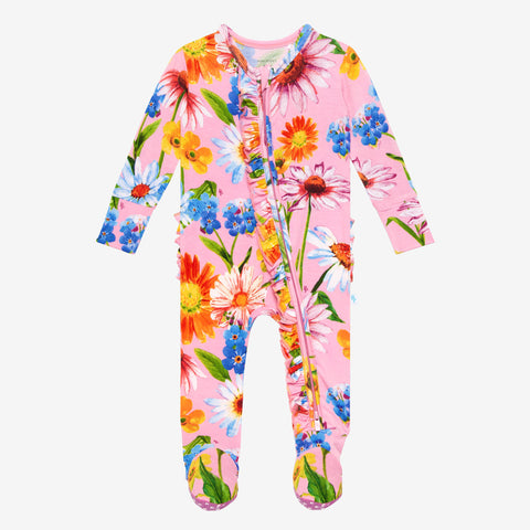 Posh Peanut Bamboo Ruffled Zippered Footie -  Kaileigh