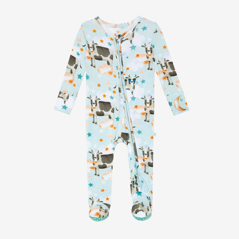 Posh Peanut Bamboo Zippered Footie -  Tex Cows