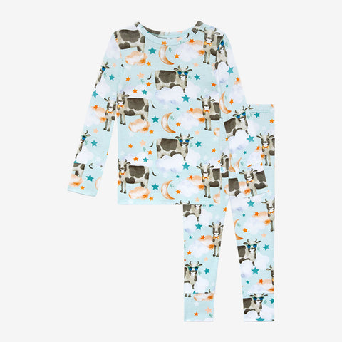 Posh Peanut Bamboo 2PC Kids Lounge Pajama Set - Tex Cows