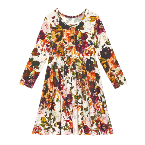 Posh Peanut Bamboo Lux Long Sleeve Henley Twirl Dress - Corinne Floral