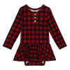 Posh Peanut Bamboo Lux Henley Twirl Skirted Bodysuit - Grayson, vintage buffalo plaid, red
