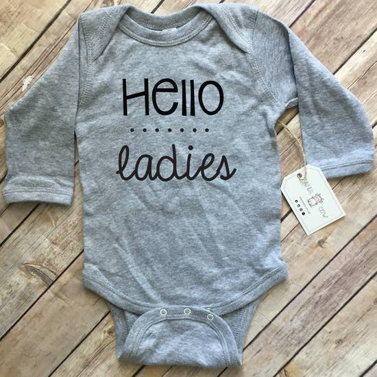 Hello Ladies - Baby Boy L/S Bodysuit, Grey