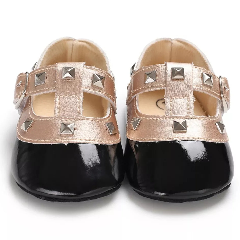 Black Patent Leatherette Baby Shoes with Studs and Buckled Straps