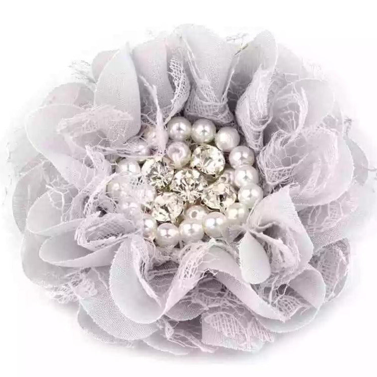 handmade non-slip grey flower hair clips with pearls and crystals