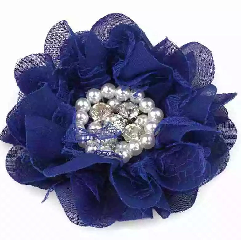handmade non-slip navy flower hair clip with pearls and crystals