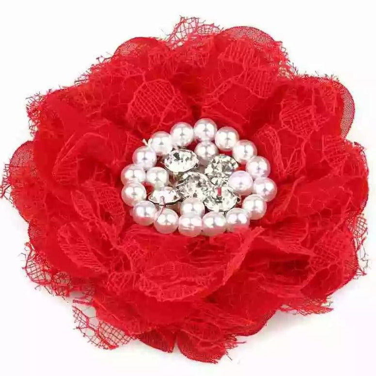 handmade non-slip red flower hair clip with pearls and crystals