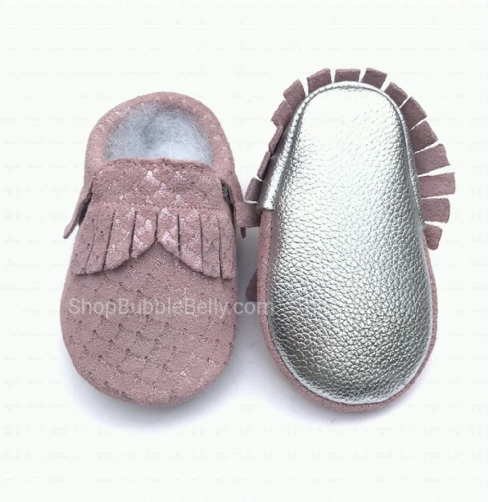Baby Girls Leather Moccasins, Pink Sparkle Mermaid