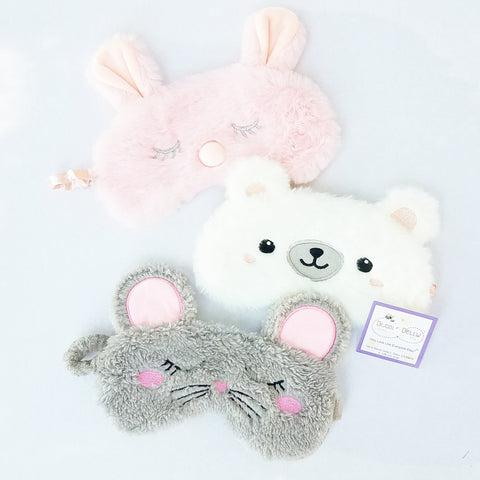 Bunny or Polar Bear, Plush Animal Face Sleep Masks
