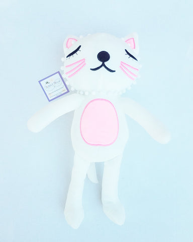 Plush Pink and White Kitty Cat - 16""