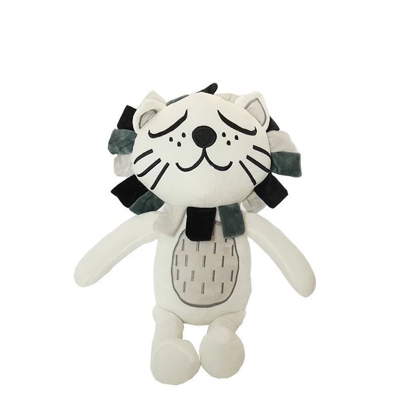 Plush Black and White Lion with Mane - 16""