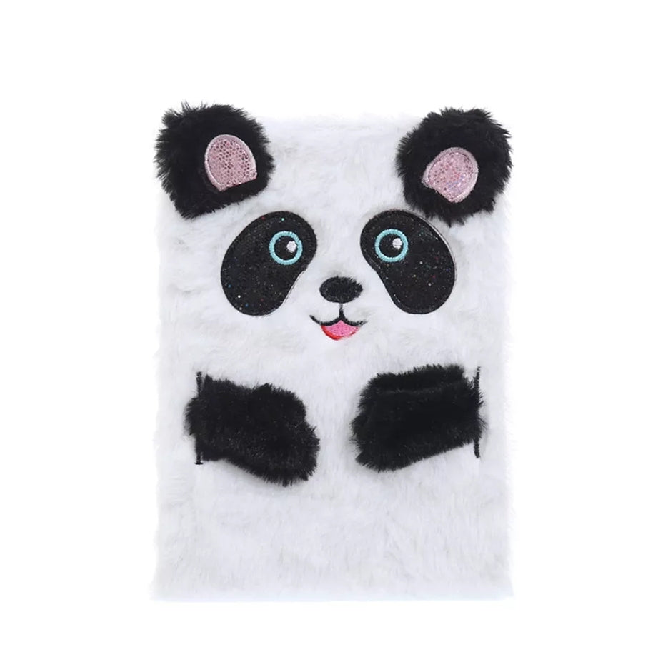 Plush Lined Journal, Panda, Soft Cover
