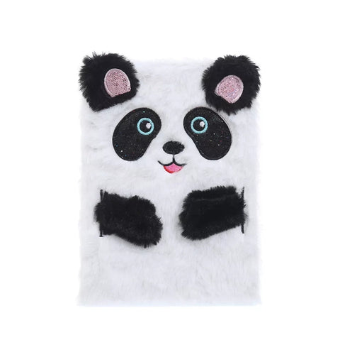 Journal - Plush Lined Notebook - Panda